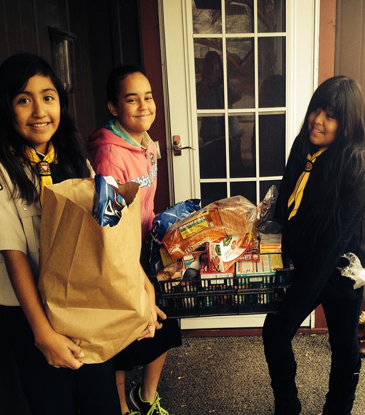 Delivering Thanksgiving baskets!